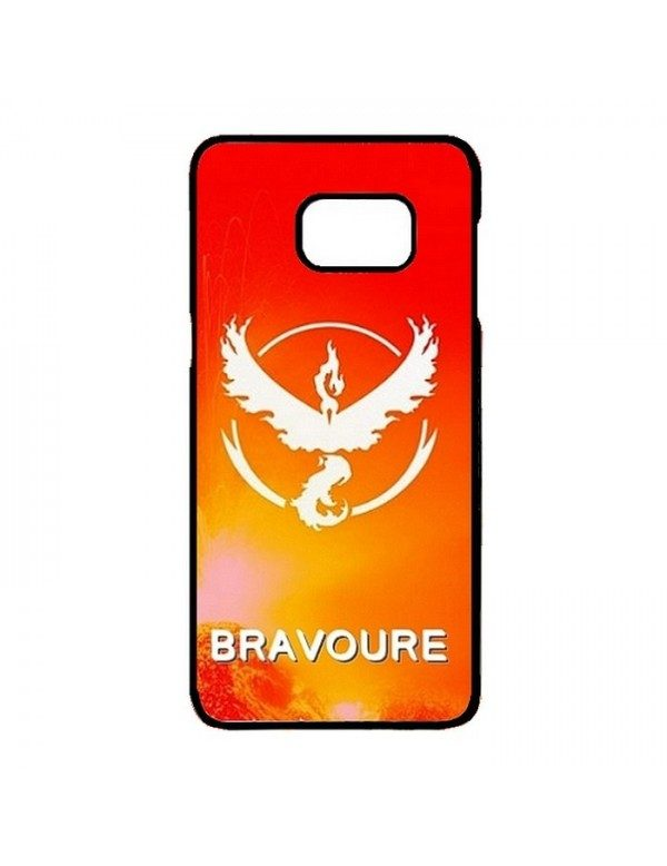 Coque rigide Samsung Galaxy S7 Edge - Pokemon go team Bravoure rouge - Contour noir