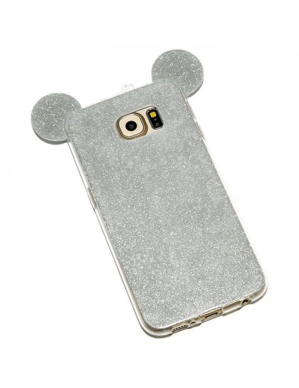 Coque silicone Samsung Galaxy S7 Edge - Oreilles de Mickey pailletée Gris argent