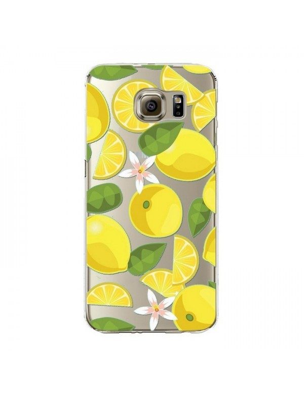 Coque silicone Samsung Galaxy S6 Edge Plus - Fruits de saison - Citrons jaunes.