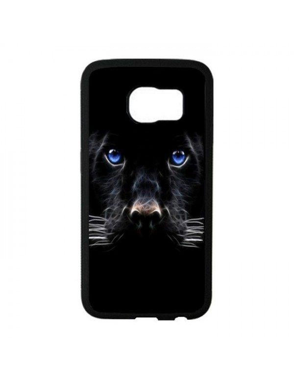 Coque Samsung Galaxy S6 Panthere noire aux yeux bleus