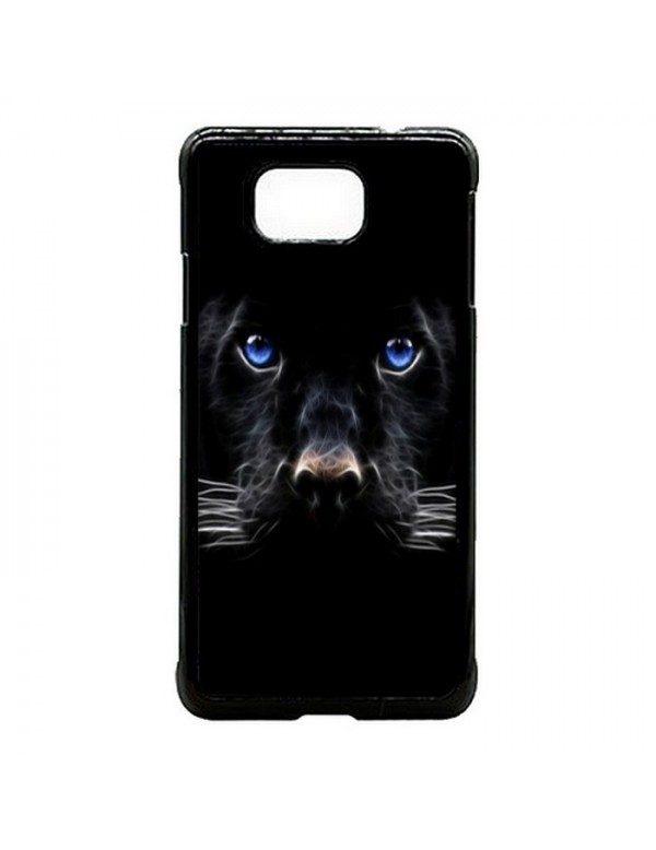 Coque Samsung Galaxy Alpha Panthere noire aux yeux bleus