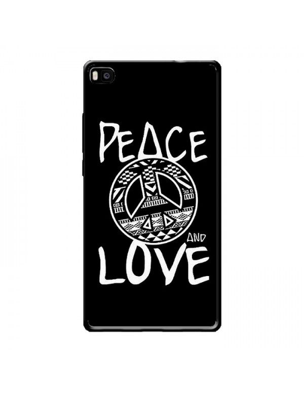 Coque HUAWEI P8 - Peace and Love noir