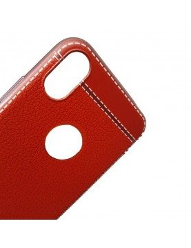 Coque silicone iPhone X/XS Aspect cuir rouge