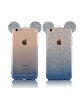 coque silicone iphone 6 plus 6s plus oreilles de mickey pailletee bleu
