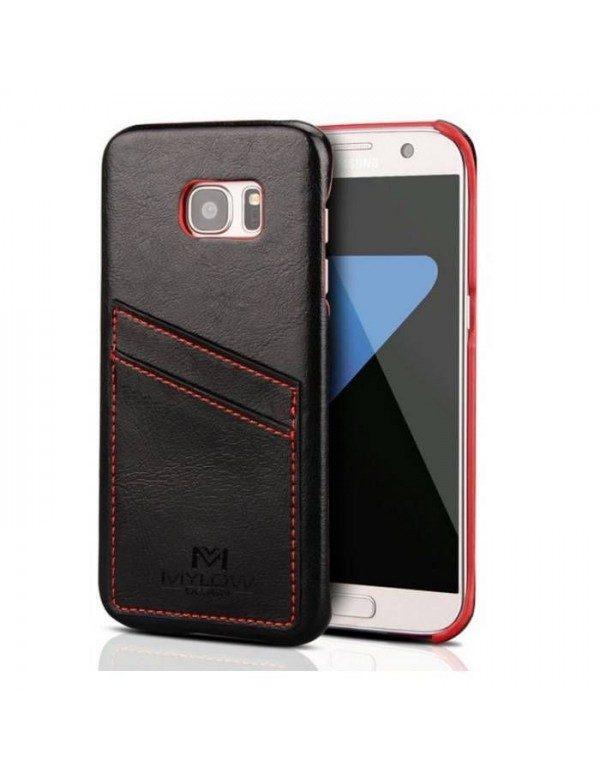 Coque Mylow Design pour Samsung Galaxy S7 - Cuir Noir