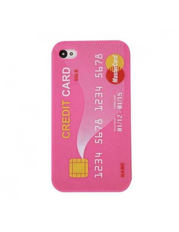 Coque silicone iPhone 4/4S -Carte de crédit rose Mastercard