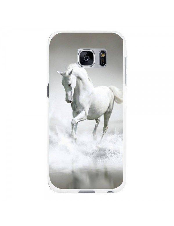 Coque rigide pour Samsung Galaxy S6 - Magnifique cheval blanc sur l'eau