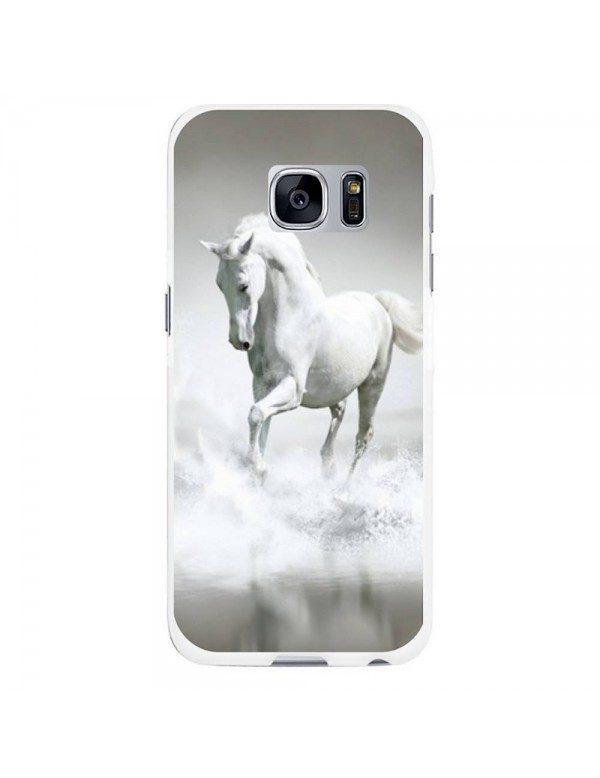 Coque rigide pour Samsung Galaxy S7 - Magnifique cheval blanc sur l'eau