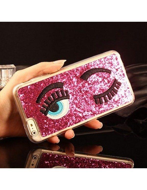 Coque 3D iPhone 5/5S  rose pailleté yeux bleus clin d oeil
