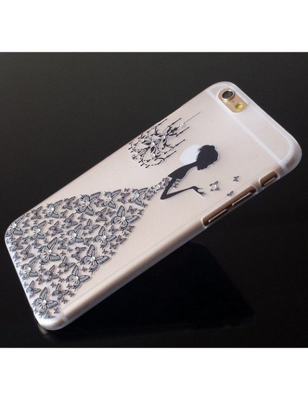 iPhone 5/5S coque souple transparente robe diamant noir