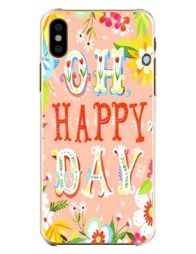 Coque souple iPhone X XS Oh Happy Day Rose Fleurs