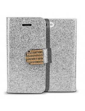 Etui portefeuille iPhone 5C - Collection Glam strass Color-Argent
