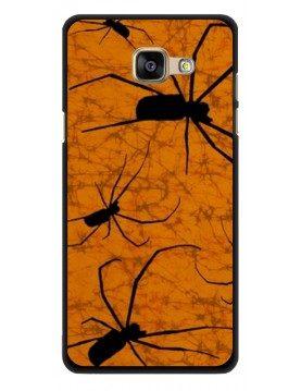 Coque rigide pour Samsung Galaxy A3 2016 - Motif araignées sur fond orange Halloween